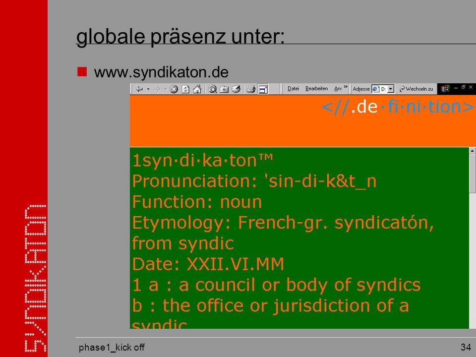 phase1_kick off 34 globale präsenz unter: www.syndikaton.de
