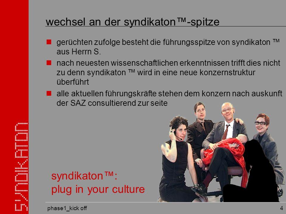 phase1_kick off 4 wechsel an der syndikaton-spitze gerüchten zufolge besteht die führungsspitze von syndikaton aus Herrn S.