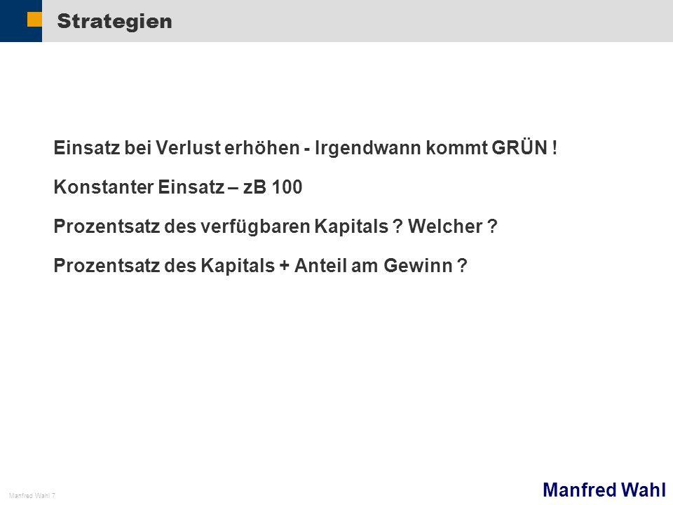 Manfred Wahl Manfred Wahl 7 Strategien Einsatz bei Verlust erhöhen - Irgendwann kommt GRÜN .