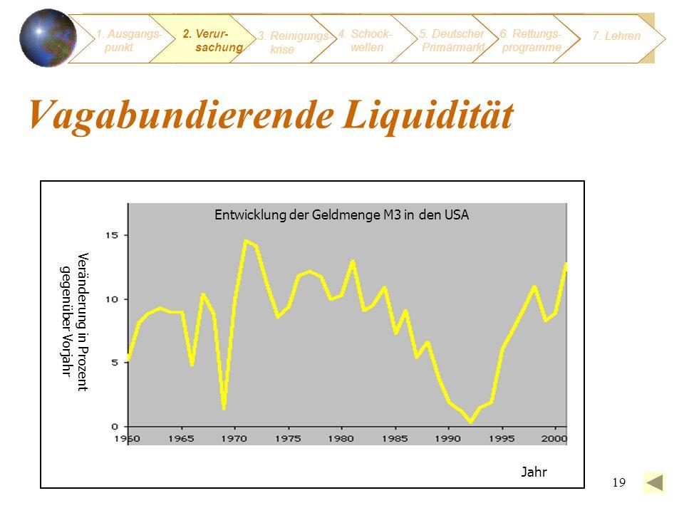 19 Vagabundierende Liquidität Entwicklung der Geldmenge M3 in den USA Jahr Veränderung in Prozent gegenüber Vorjahr 1. Ausgangs- punkt 3. Reinigungs-