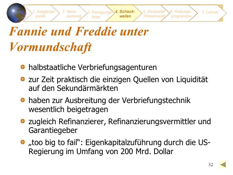 32 1. Ausgangs- punkt 3. Reinigungs- krise 4. Schock- wellen 2. Verur- sachung 5. Deutscher Primärmarkt 6. Rettungs- programme 7. Lehren Fannie und Fr