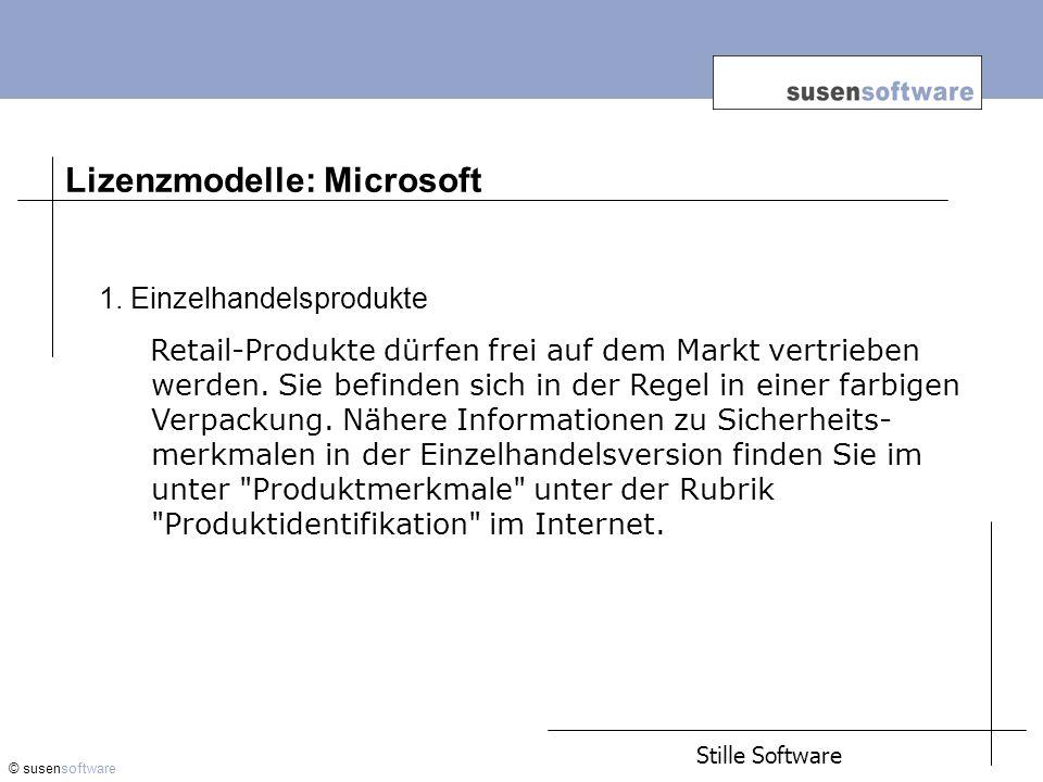 Lizenzmodelle: Microsoft © susensoftware 1.
