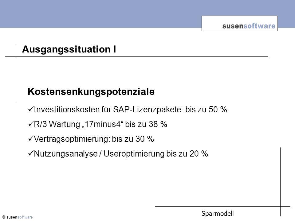 © susensoftware Sparmodell Ausgangssituation I Kostensenkungspotenziale Investitionskosten für SAP-Lizenzpakete: bis zu 50 % R/3 Wartung 17minus4 bis zu 38 % Vertragsoptimierung: bis zu 30 % Nutzungsanalyse / Useroptimierung bis zu 20 %