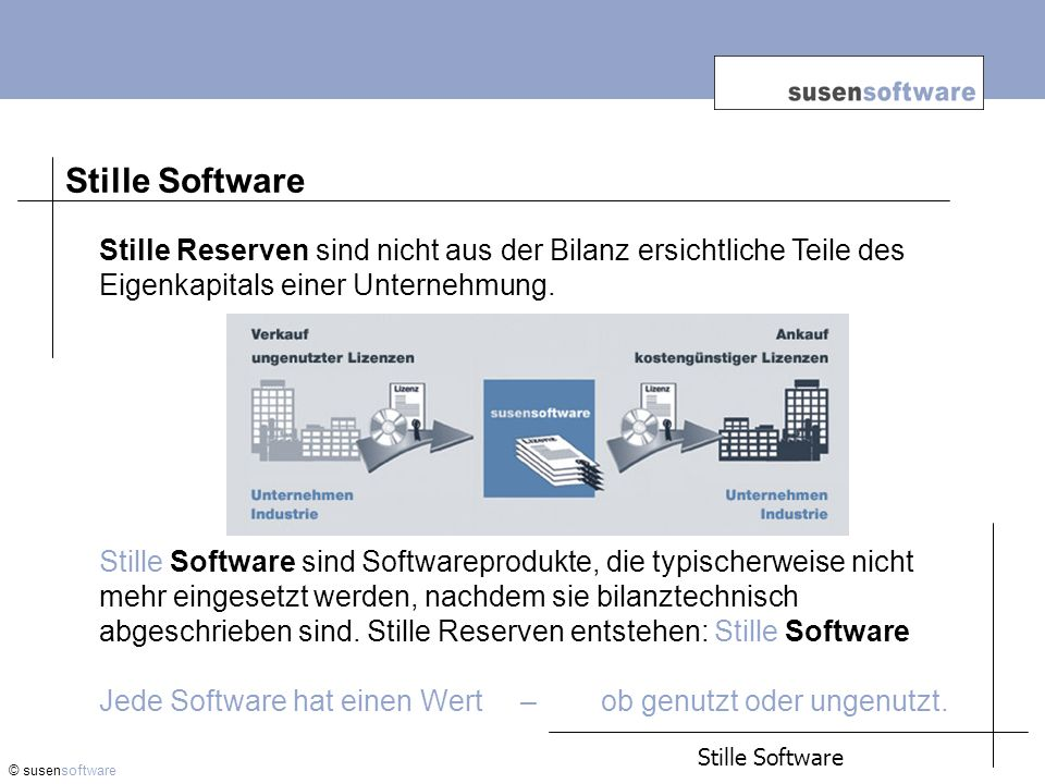 © susensoftware Stille Reserven sind nicht aus der Bilanz ersichtliche Teile des Eigenkapitals einer Unternehmung.