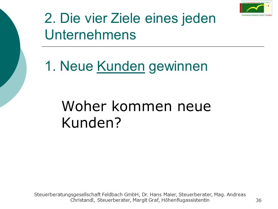 Steuerberatungsgesellschaft Feldbach GmbH, Dr. Hans Maier, Steuerberater, Mag. Andreas Christandl, Steuerberater, Margit Graf, Höhenflugassistentin 36