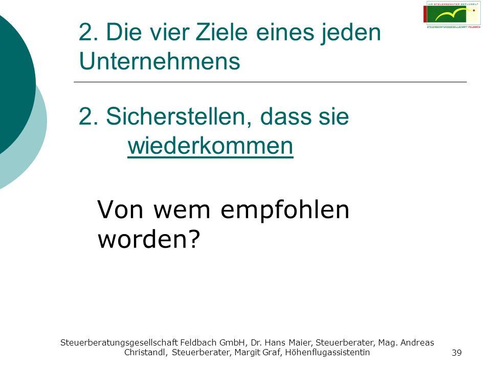 Steuerberatungsgesellschaft Feldbach GmbH, Dr. Hans Maier, Steuerberater, Mag. Andreas Christandl, Steuerberater, Margit Graf, Höhenflugassistentin 39