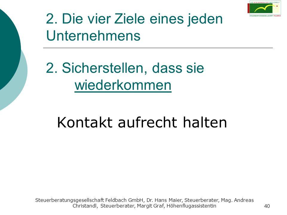 Steuerberatungsgesellschaft Feldbach GmbH, Dr. Hans Maier, Steuerberater, Mag. Andreas Christandl, Steuerberater, Margit Graf, Höhenflugassistentin 40
