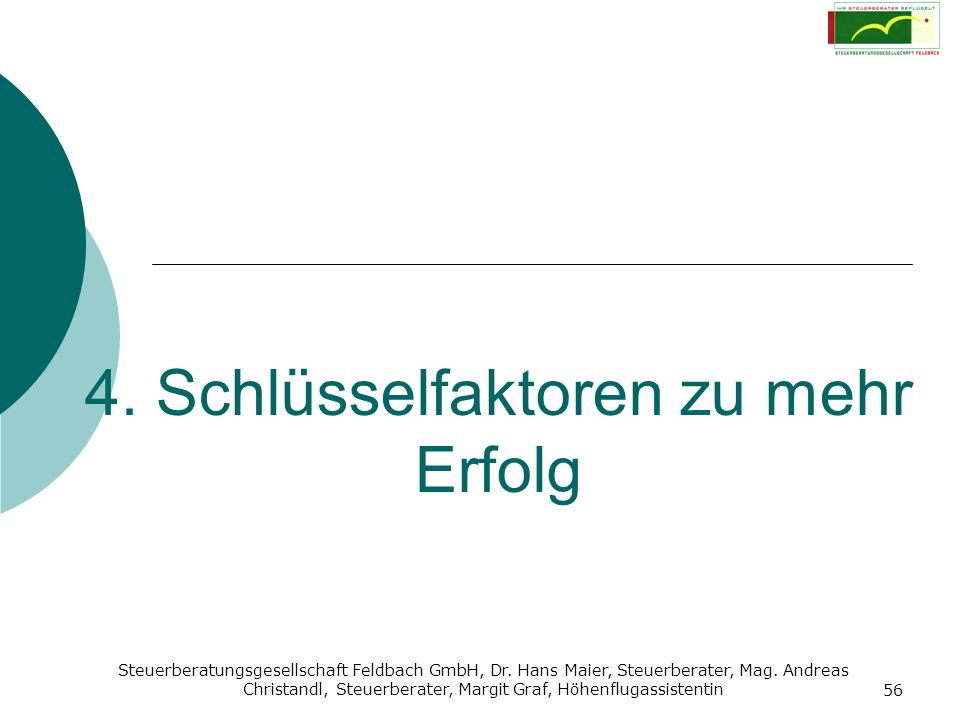 Steuerberatungsgesellschaft Feldbach GmbH, Dr. Hans Maier, Steuerberater, Mag. Andreas Christandl, Steuerberater, Margit Graf, Höhenflugassistentin 56