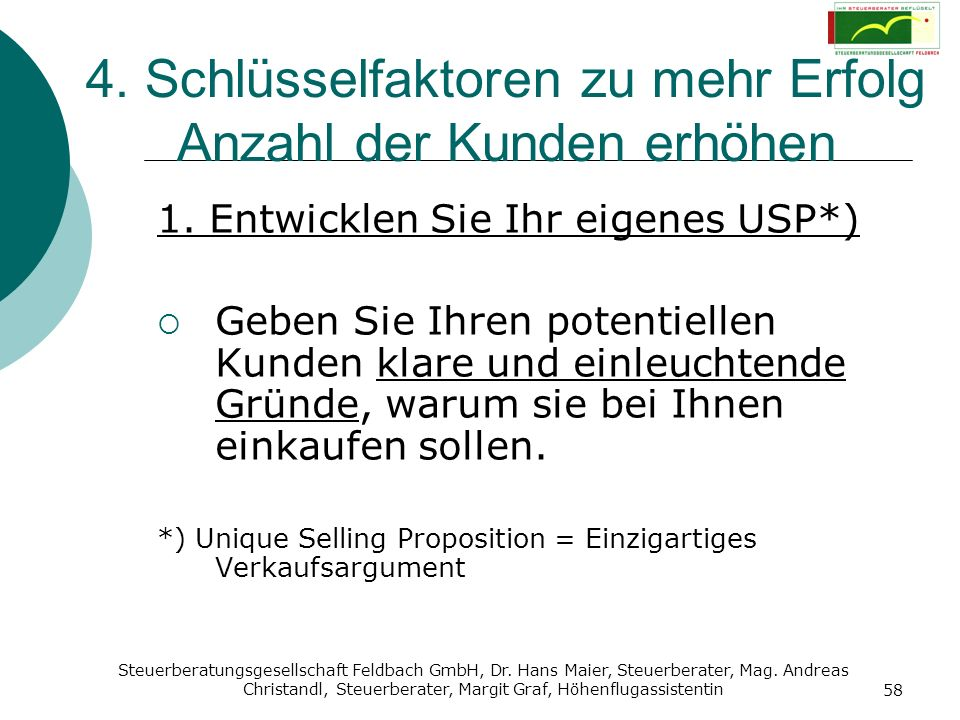 Steuerberatungsgesellschaft Feldbach GmbH, Dr. Hans Maier, Steuerberater, Mag. Andreas Christandl, Steuerberater, Margit Graf, Höhenflugassistentin 58