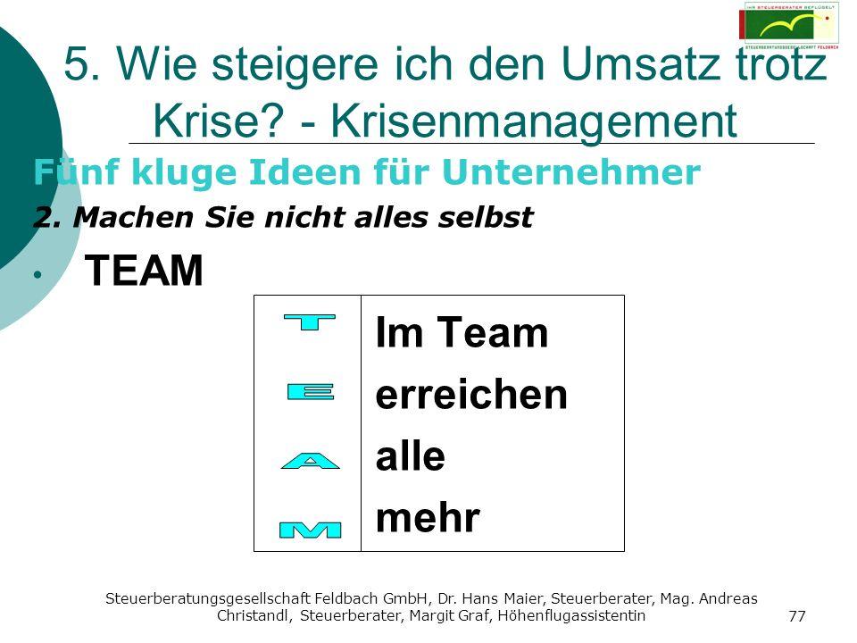 Steuerberatungsgesellschaft Feldbach GmbH, Dr. Hans Maier, Steuerberater, Mag. Andreas Christandl, Steuerberater, Margit Graf, Höhenflugassistentin 77