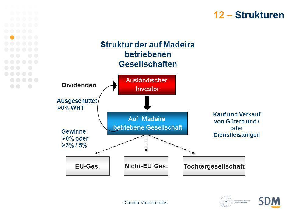 Dividenden Ausgeschüttet 0% WHT Gewinne 0% oder 3% / 5% Kauf und Verkauf von Gütern und / oder Dienstleistungen Struktur der auf Madeira betriebenen G