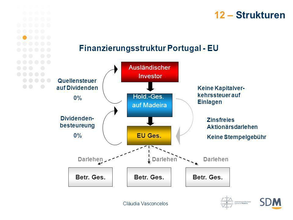 12 – Strukturen Betr. Ges. Finanzierungsstruktur Portugal - EU EU Ges. Ausländischer Investor Hold.-Ges. auf Madeira Darlehen Quellensteuer auf Divide