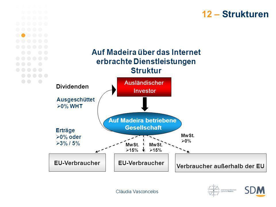 12 – Strukturen Auf Madeira über das Internet erbrachte Dienstleistungen Struktur Ausländischer Investor EU-Verbraucher Auf Madeira betriebene Gesells