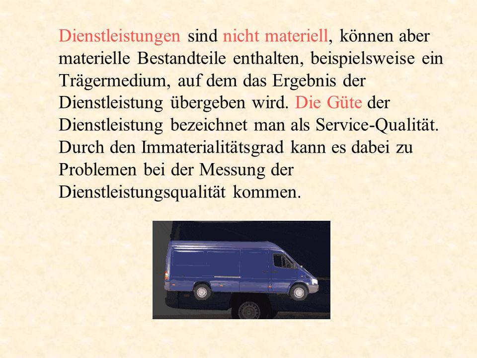 Dienstleistungen sind nicht materiell, können aber materielle Bestandteile enthalten, beispielsweise ein Trägermedium, auf dem das Ergebnis der Dienst