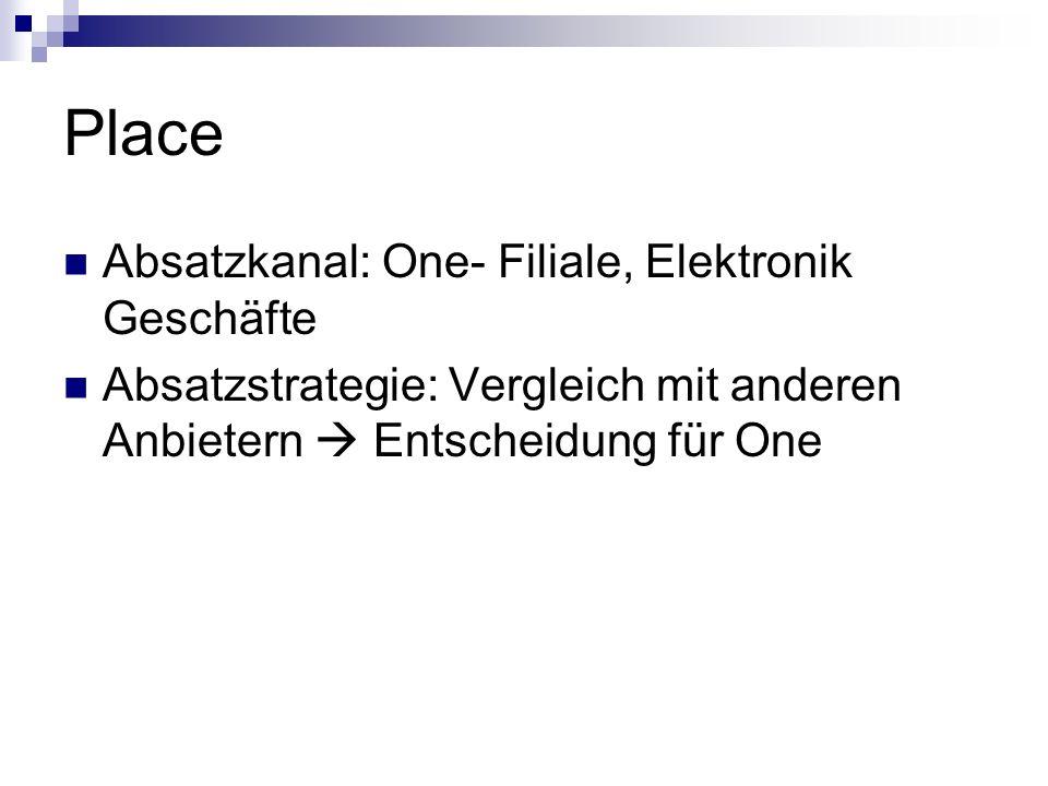 Place Absatzkanal: One- Filiale, Elektronik Geschäfte Absatzstrategie: Vergleich mit anderen Anbietern Entscheidung für One