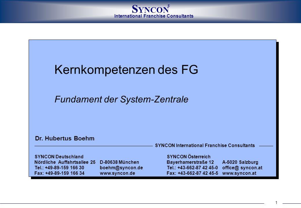 1 International Franchise Consultants S YNCON ® Kernkompetenzen des FG Fundament der System-Zentrale SYNCON Deutschland SYNCON Österreich Nördliche Au