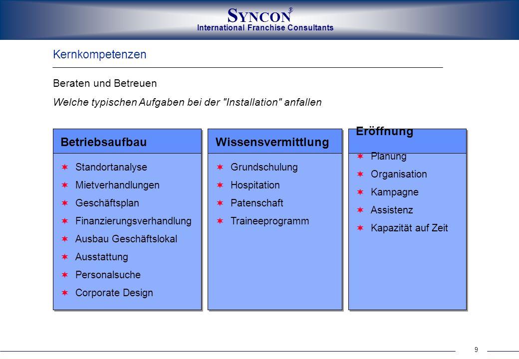 9 International Franchise Consultants S YNCON ® Kernkompetenzen Beraten und Betreuen Welche typischen Aufgaben bei der