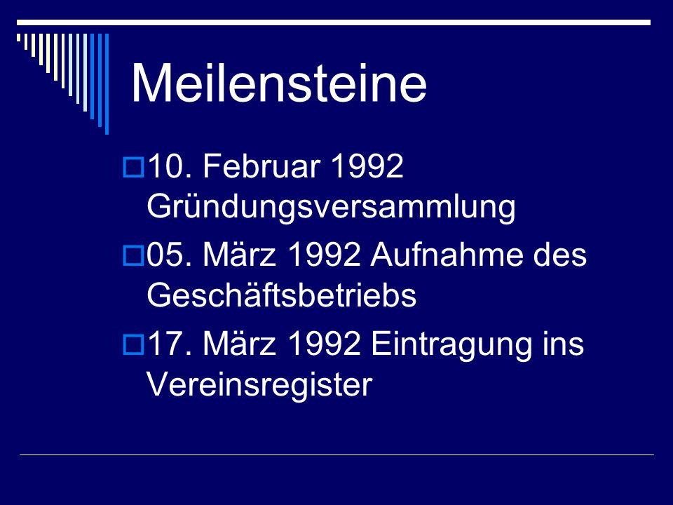Meilensteine 10. Februar 1992 Gründungsversammlung 05. März 1992 Aufnahme des Geschäftsbetriebs 17. März 1992 Eintragung ins Vereinsregister