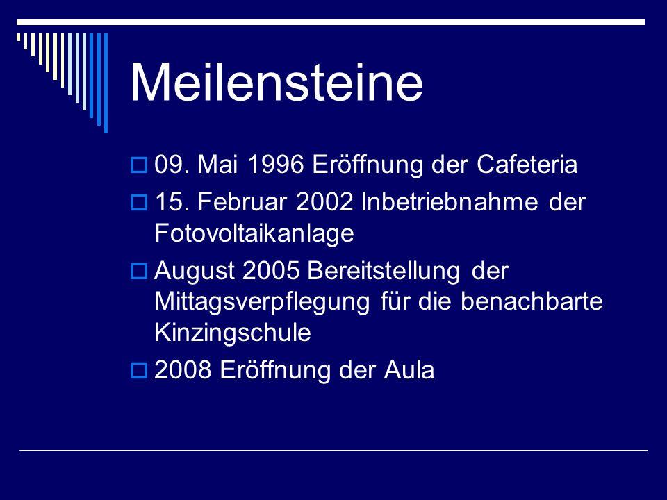 Meilensteine 09. Mai 1996 Eröffnung der Cafeteria 15. Februar 2002 Inbetriebnahme der Fotovoltaikanlage August 2005 Bereitstellung der Mittagsverpfleg
