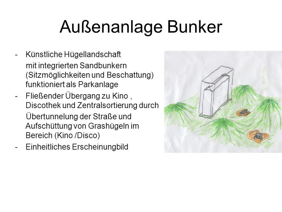 Außenanlage Bunker -Künstliche Hügellandschaft mit integrierten Sandbunkern (Sitzmöglichkeiten und Beschattung) funktioniert als Parkanlage -Fließender Übergang zu Kino, Discothek und Zentralsortierung durch Übertunnelung der Straße und Aufschüttung von Grashügeln im Bereich (Kino /Disco) -Einheitliches Erscheinungbild