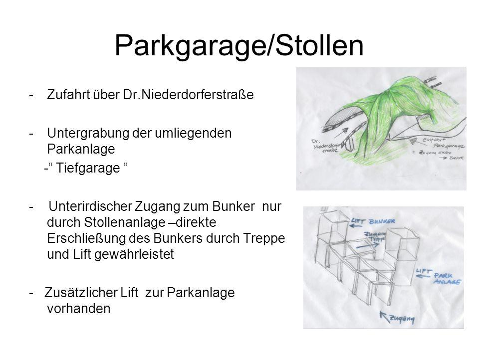 Parkgarage/Stollen -Zufahrt über Dr.Niederdorferstraße -Untergrabung der umliegenden Parkanlage - Tiefgarage - Unterirdischer Zugang zum Bunker nur durch Stollenanlage –direkte Erschließung des Bunkers durch Treppe und Lift gewährleistet - Zusätzlicher Lift zur Parkanlage vorhanden