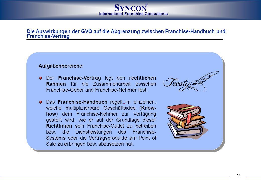 International Franchise Consultants S YNCON ® 11 Die Auswirkungen der GVO auf die Abgrenzung zwischen Franchise-Handbuch und Franchise-Vertrag Aufgabe