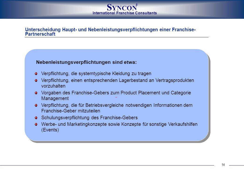International Franchise Consultants S YNCON ® 14 Unterscheidung Haupt- und Nebenleistungsverpflichtungen einer Franchise- Partnerschaft Nebenleistungs