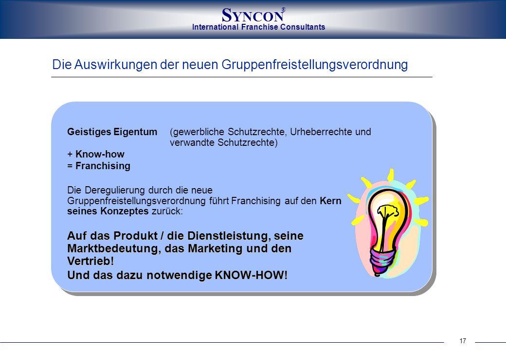 International Franchise Consultants S YNCON ® 17 Die Auswirkungen der neuen Gruppenfreistellungsverordnung Die Deregulierung durch die neue Gruppenfre