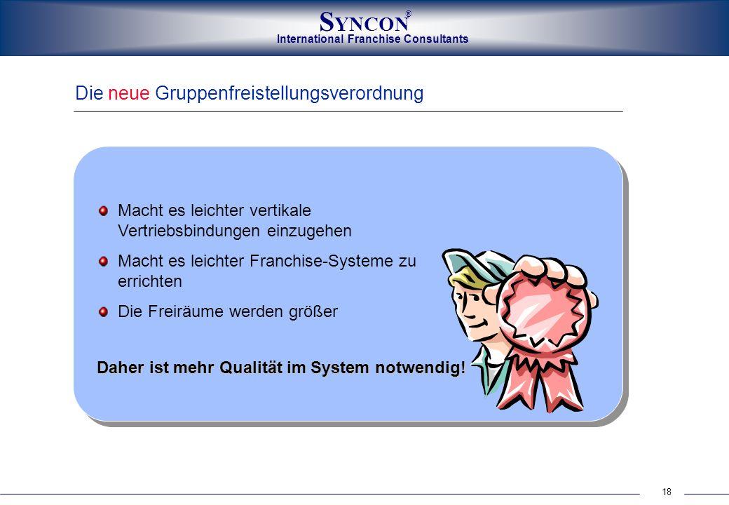 International Franchise Consultants S YNCON ® 18 Die neue Gruppenfreistellungsverordnung Daher ist mehr Qualität im System notwendig! Macht es leichte