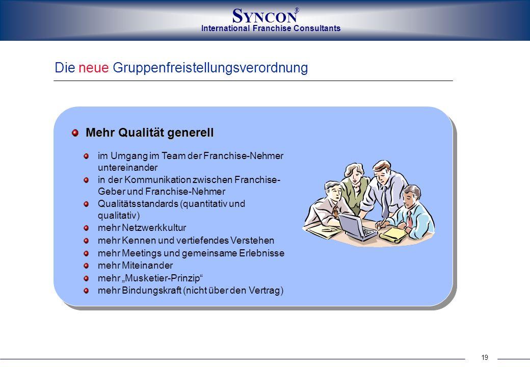 International Franchise Consultants S YNCON ® 19 Die neue Gruppenfreistellungsverordnung Mehr Qualität generell im Umgang im Team der Franchise-Nehmer
