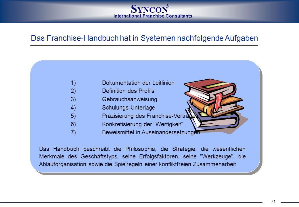 International Franchise Consultants S YNCON ® 21 Das Franchise-Handbuch hat in Systemen nachfolgende Aufgaben 1)Dokumentation der Leitlinien 2)Definit