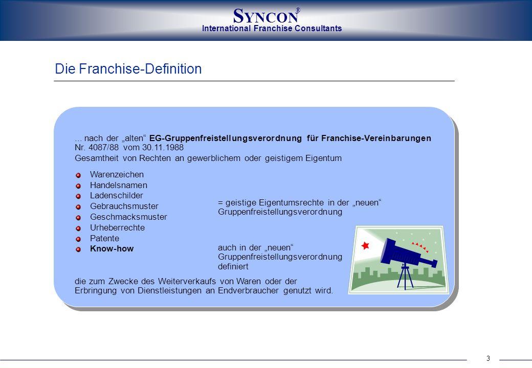 International Franchise Consultants S YNCON ® 3 Die Franchise-Definition... nach der alten EG-Gruppenfreistellungsverordnung für Franchise-Vereinbarun