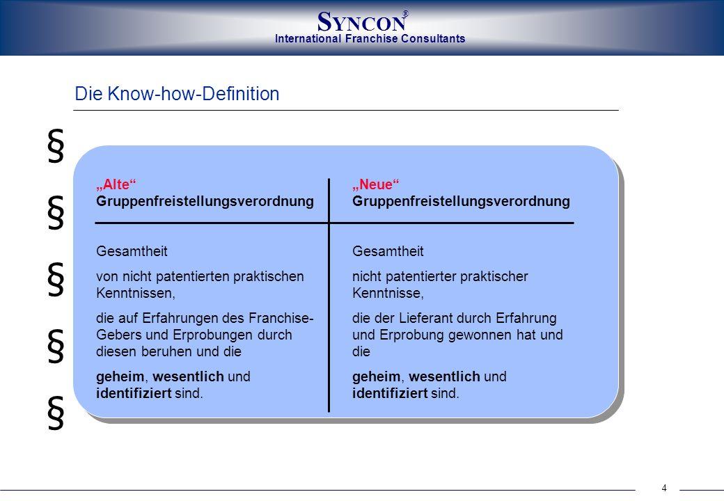 International Franchise Consultants S YNCON ® 4 Die Know-how-Definition Neue Gruppenfreistellungsverordnung Gesamtheit nicht patentierter praktischer