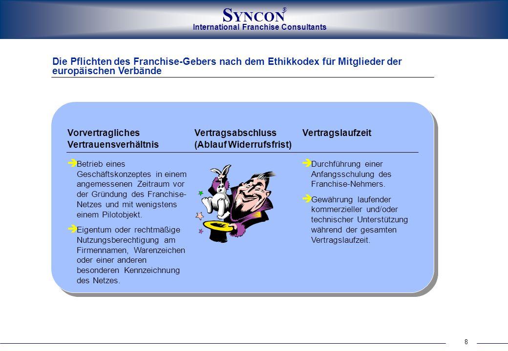 International Franchise Consultants S YNCON ® 8 Die Pflichten des Franchise-Gebers nach dem Ethikkodex für Mitglieder der europäischen Verbände Vorver