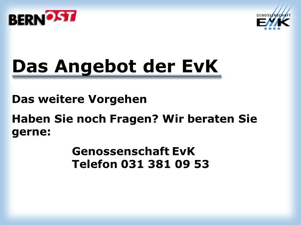 Das Angebot der EvK Das weitere Vorgehen Haben Sie noch Fragen.