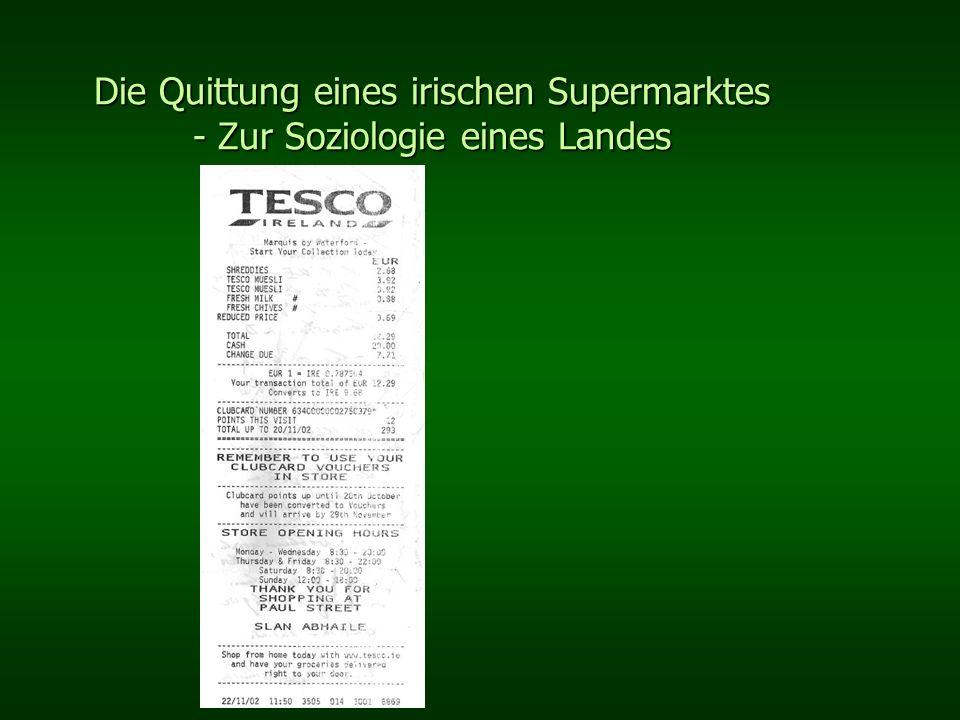 Die Quittung eines irischen Supermarktes - Zur Soziologie eines Landes