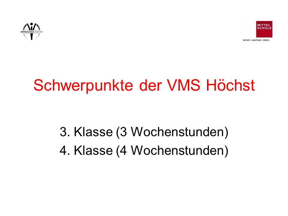 Schwerpunkte der VMS Höchst 3. Klasse (3 Wochenstunden) 4. Klasse (4 Wochenstunden)