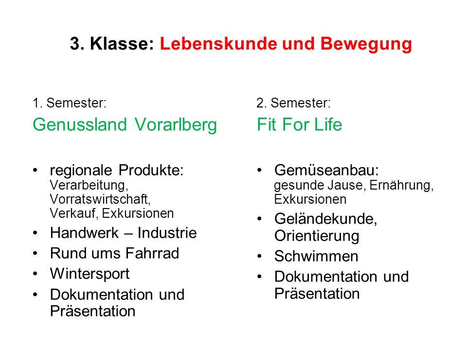 3. Klasse: Lebenskunde und Bewegung 1. Semester: Genussland Vorarlberg regionale Produkte: Verarbeitung, Vorratswirtschaft, Verkauf, Exkursionen Handw