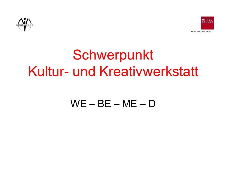 Schwerpunkt Kultur- und Kreativwerkstatt WE – BE – ME – D