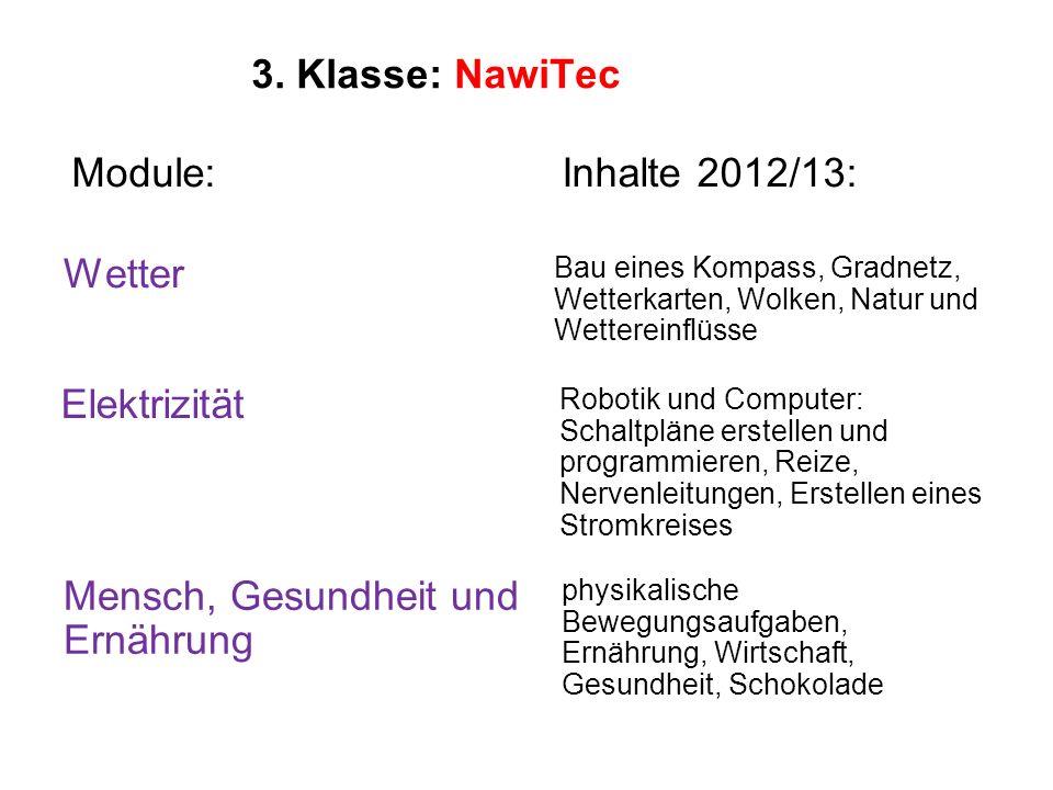 3. Klasse: NawiTec Module: Bau eines Kompass, Gradnetz, Wetterkarten, Wolken, Natur und Wettereinflüsse Wetter Inhalte 2012/13: Robotik und Computer: