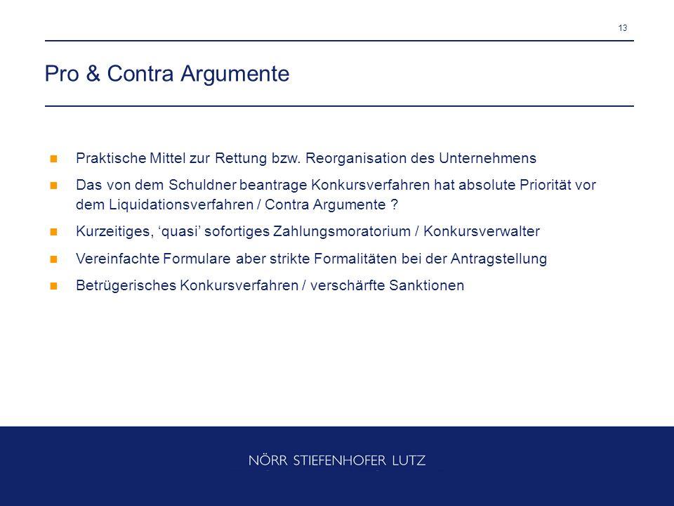 13 Pro & Contra Argumente Praktische Mittel zur Rettung bzw. Reorganisation des Unternehmens Das von dem Schuldner beantrage Konkursverfahren hat abso
