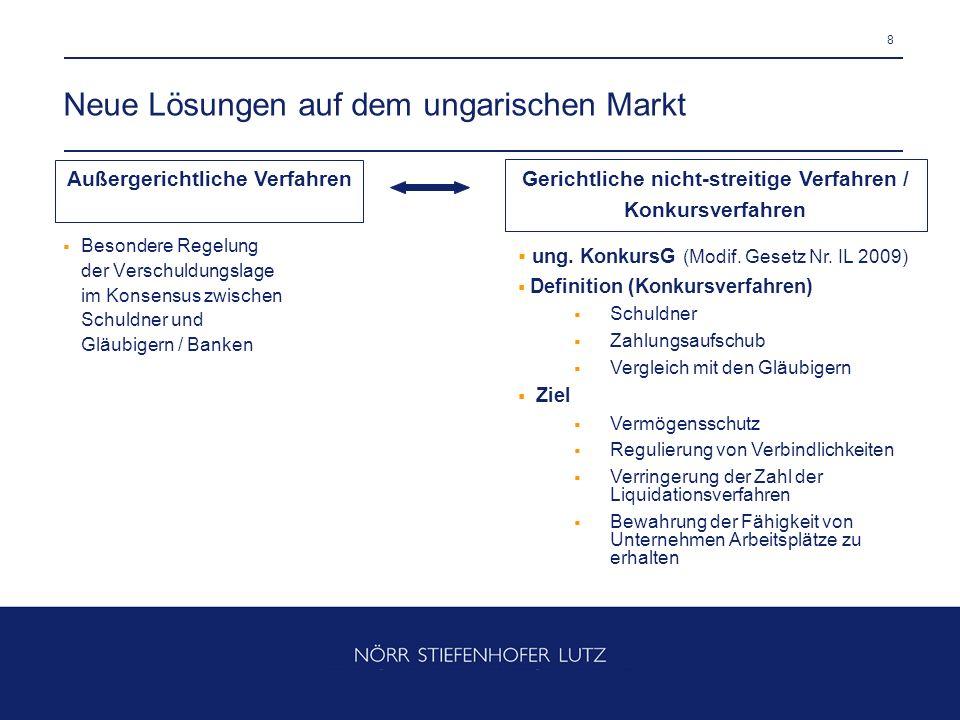 8 Neue Lösungen auf dem ungarischen Markt Besondere Regelung der Verschuldungslage im Konsensus zwischen Schuldner und Gläubigern / Banken ung. Konkur