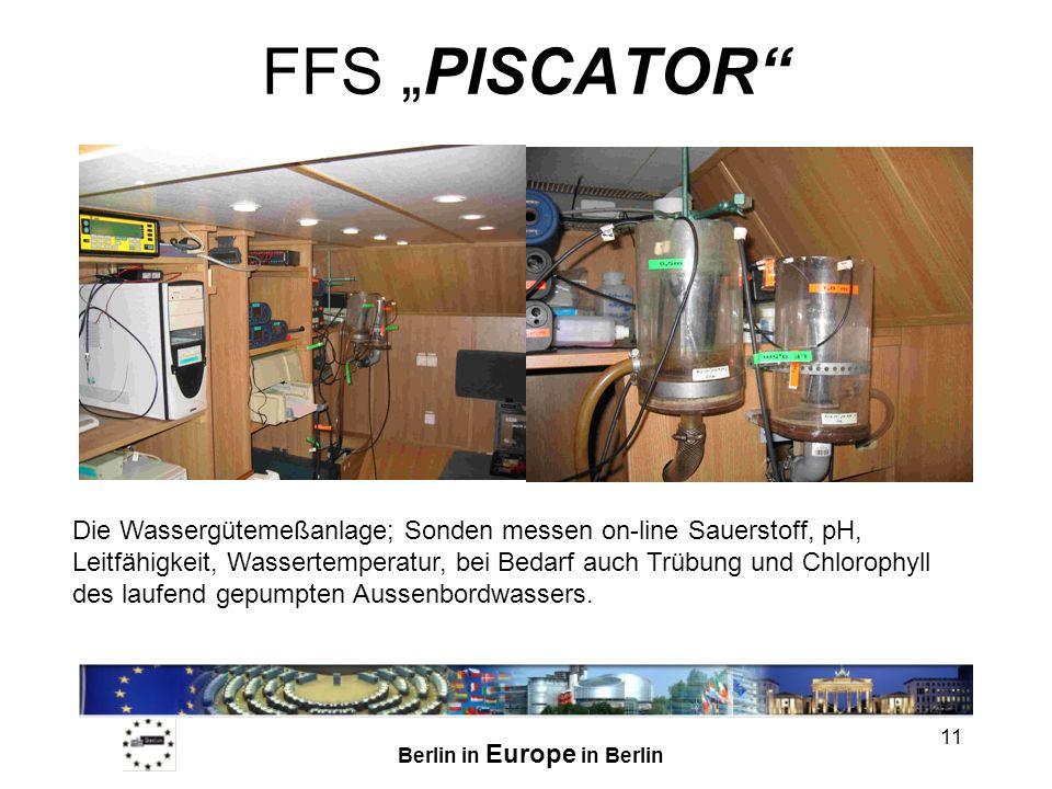 Berlin in Europe in Berlin 11 FFS PISCATOR Die Wassergütemeßanlage; Sonden messen on-line Sauerstoff, pH, Leitfähigkeit, Wassertemperatur, bei Bedarf auch Trübung und Chlorophyll des laufend gepumpten Aussenbordwassers.