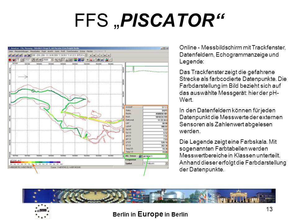 Berlin in Europe in Berlin 13 FFS PISCATOR Online - Messbildschirm mit Trackfenster, Datenfeldern, Echogrammanzeige und Legende: Das Trackfenster zeigt die gefahrene Strecke als farbcodierte Datenpunkte.