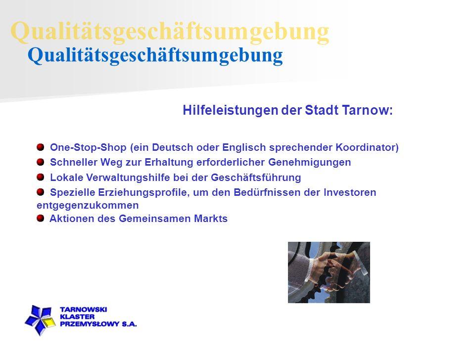 One-Stop-Shop (ein Deutsch oder Englisch sprechender Koordinator) Hilfeleistungen der Stadt Tarnow: Schneller Weg zur Erhaltung erforderlicher Genehmigungen Spezielle Erziehungsprofile, um den Bedürfnissen der Investoren entgegenzukommen Lokale Verwaltungshilfe bei der Geschäftsführung Aktionen des Gemeinsamen Markts