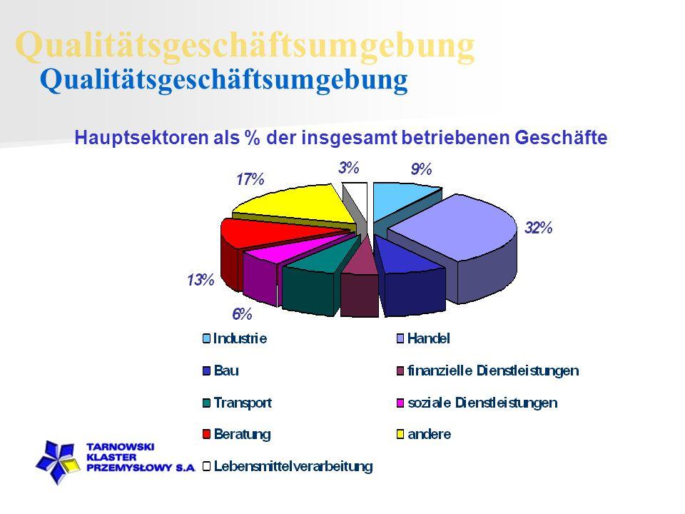 Hauptsektoren als % der insgesamt betriebenen Geschäfte