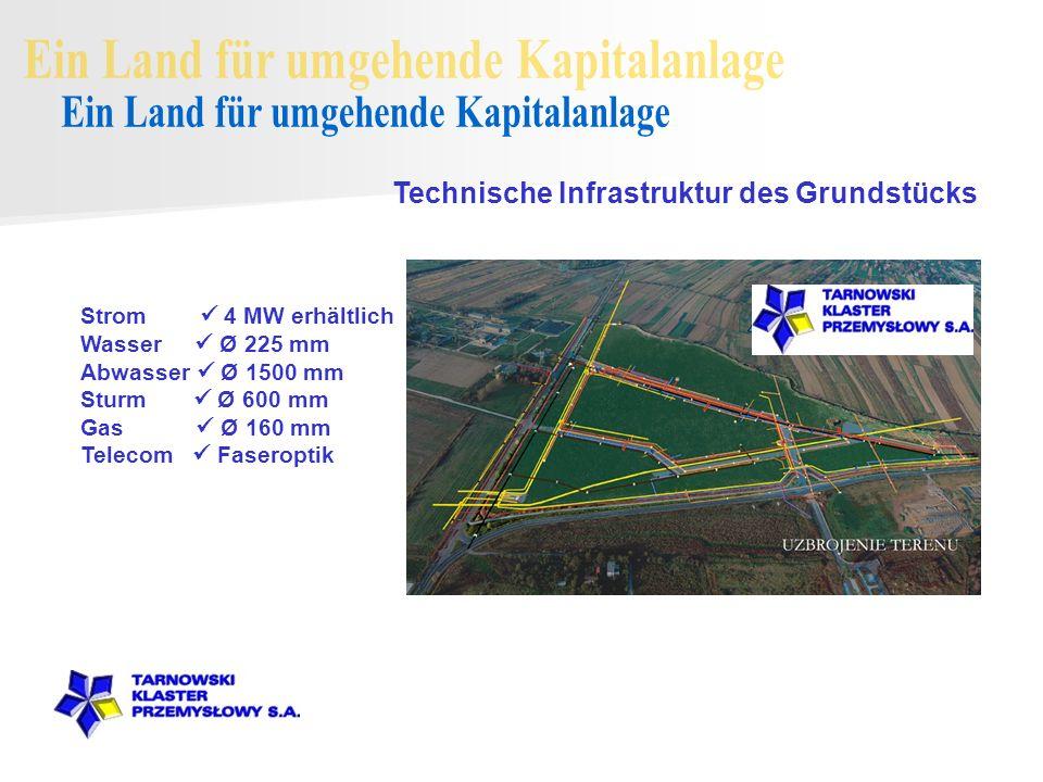 Technische Infrastruktur des Grundstücks Strom 4 MW erhältlich Wasser Ø 225 mm Abwasser Ø 1500 mm Sturm Ø 600 mm Gas Ø 160 mm Telecom Faseroptik