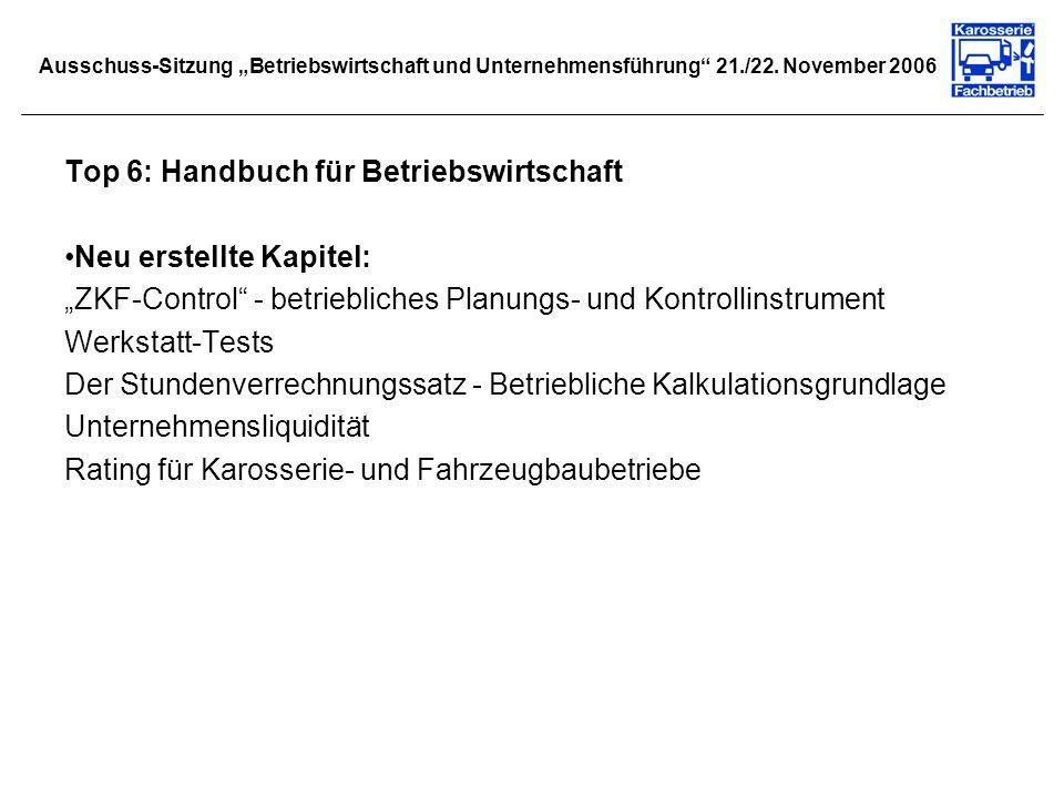Ausschuss-Sitzung Betriebswirtschaft und Unternehmensführung 21./22. November 2006 Top 6: Handbuch für Betriebswirtschaft Neu erstellte Kapitel: ZKF-C