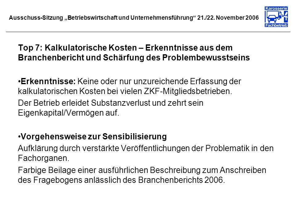 Ausschuss-Sitzung Betriebswirtschaft und Unternehmensführung 21./22. November 2006 Top 7: Kalkulatorische Kosten – Erkenntnisse aus dem Branchenberich