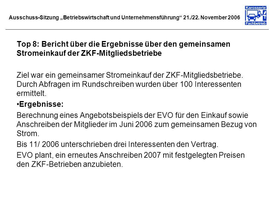 Ausschuss-Sitzung Betriebswirtschaft und Unternehmensführung 21./22. November 2006 Top 8: Bericht über die Ergebnisse über den gemeinsamen Stromeinkau